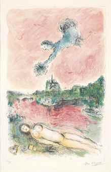 Marc Chagall-Vue de Notre-Dame-1980