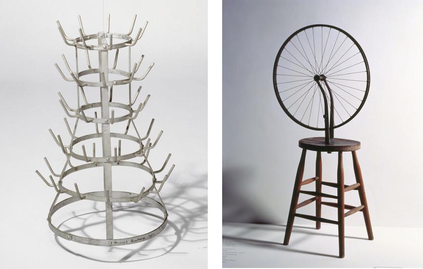 Marcel Duchamp - Bottle-Rack , 1914 (Left) ---- Bicycle Wheel, 1913 (Right)