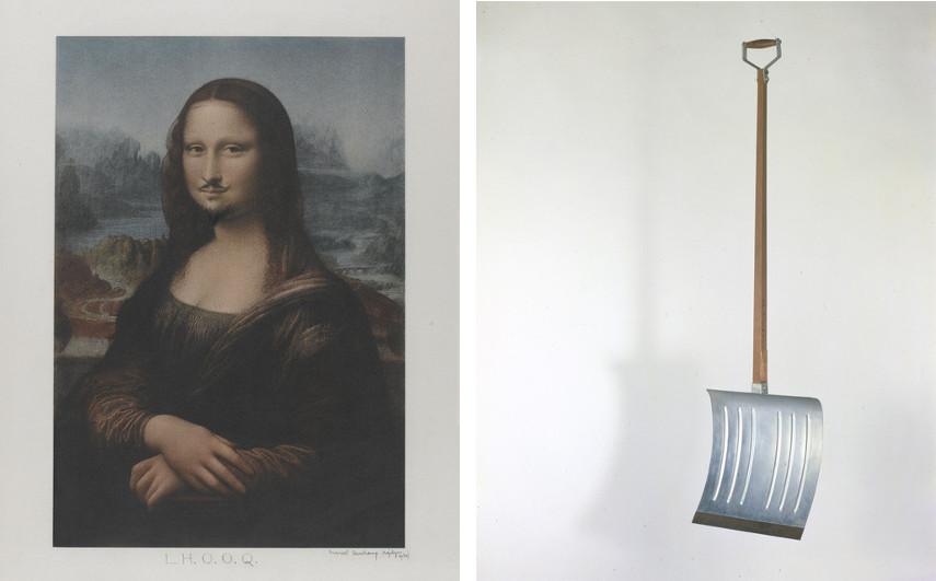 Marcel Duchamp - L.H.O.O.Q. Mona Lisa, 1919 (Left) ---- In Advance of the Broken Arm, 1915 (Right)