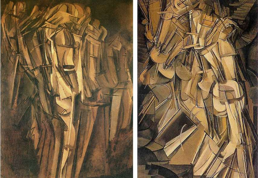 Marcel Duchamp - Sad Young Man on a Train, 1911 (Left) ---- Nude Descending a Staircase No. 2 , 1912 (Right)