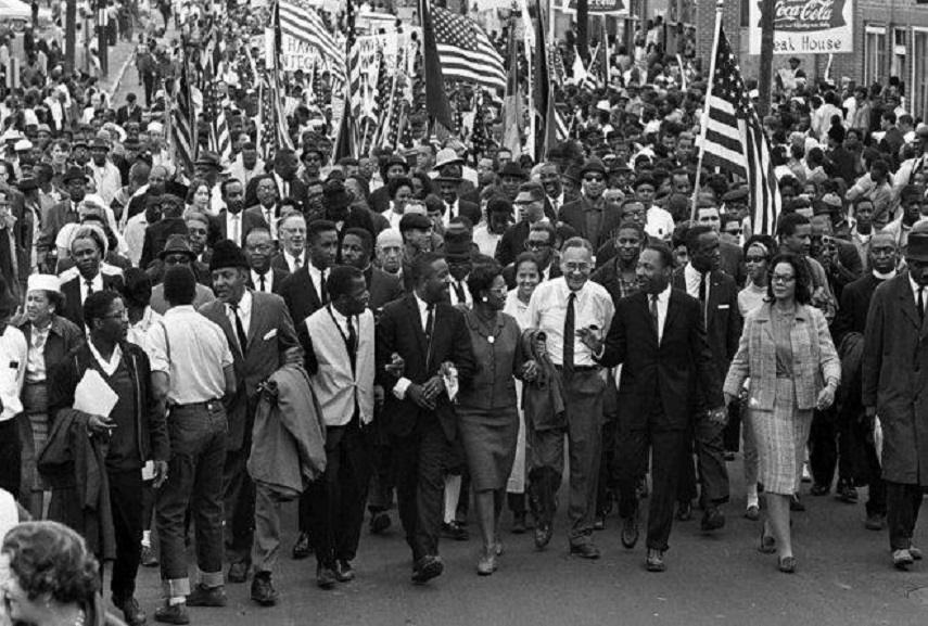 Marchers of the Civil Right Movement on a 50-mile march to the state capitol, 1965. Image via jsonline.com