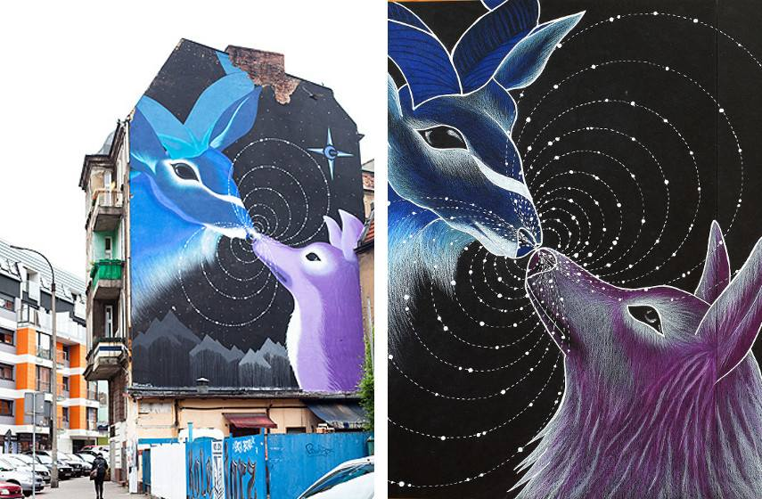 Marina Zumi - Mural done at Festival Muralli Outerspaces Poznan, 2013 (left), Detail (right)