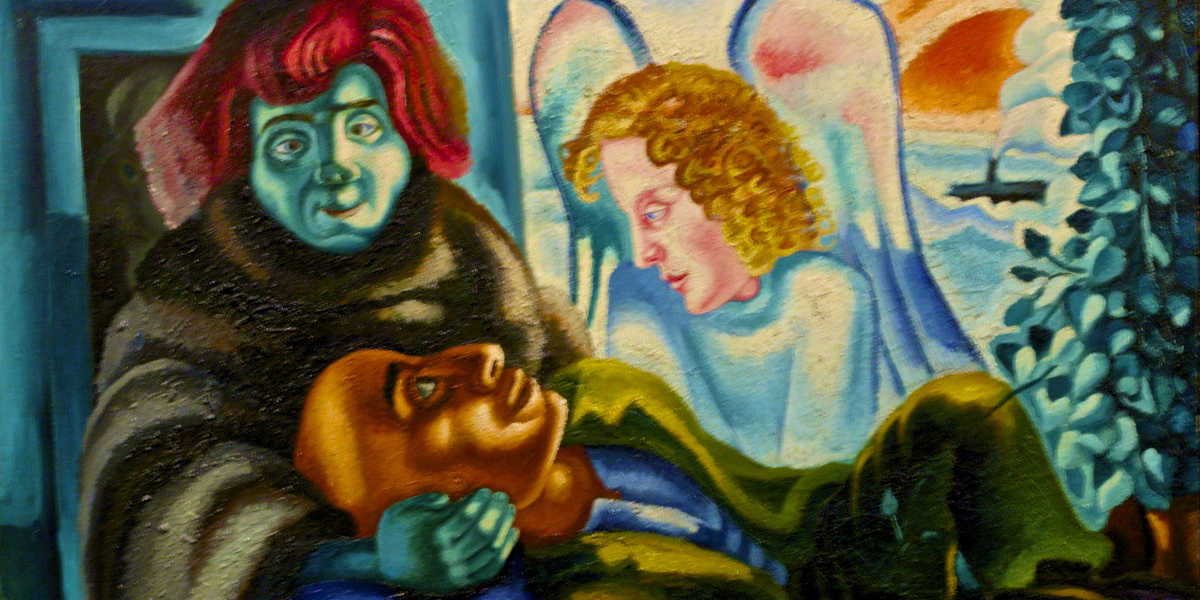 Mario Eloy - The poet and the angel (detail), c1938, MNAC, Lisbon, photo via flickr