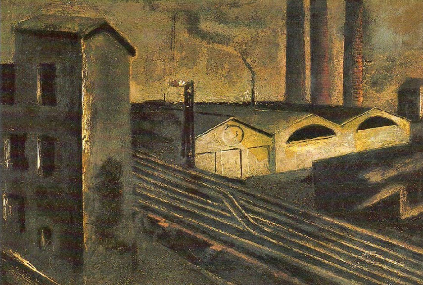 Mario Sironi - Paesaggio urbano e camion, 1920. Image via settemuse.it
