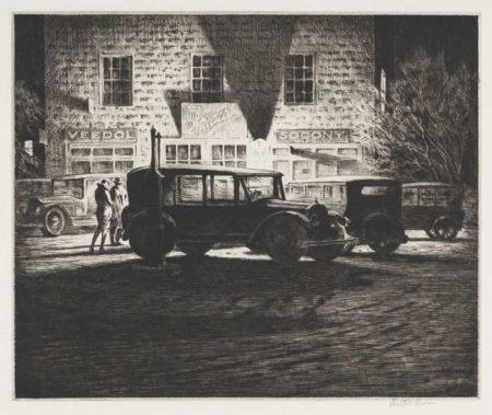 Martin Lewis-Shadows, Garage At Night-1928