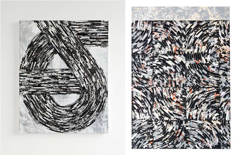 pieces on wood and paper - Untitled probiere, 2016 (Left) / Untitled #4, 2015 (Right)
