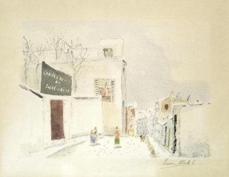 Maurice Utrillo-Sous la Neige. Rue a Cote du Sacre-Coeur, Montmartre-1938
