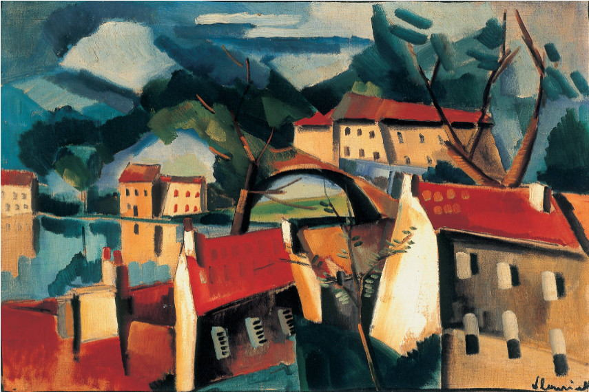 Maurice de Vlaminck - Village on the River, 1915 - museums information via pinterest.com