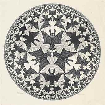 Maurits Cornelis Escher-Circle Limit IV (Heaven and Hell)-1960