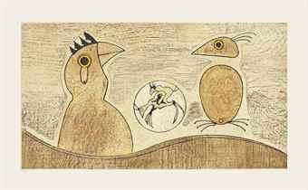 Max Ernst-Deux Oiseaux (Ochre)-1975