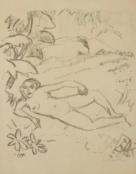 Akt in den Dunen (Woman in the Meadow), plate 7 from Paraphrasen zur Samlandischen Ode-1917