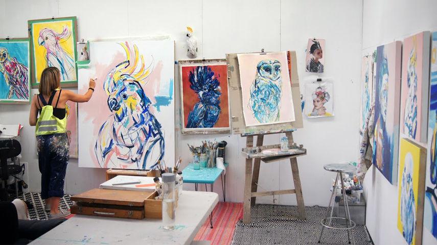 Melbourne Bluethumb artist working in her studio
