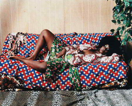 Mickalene Thomas-Afro Goddess with Hand Between Legs-2006