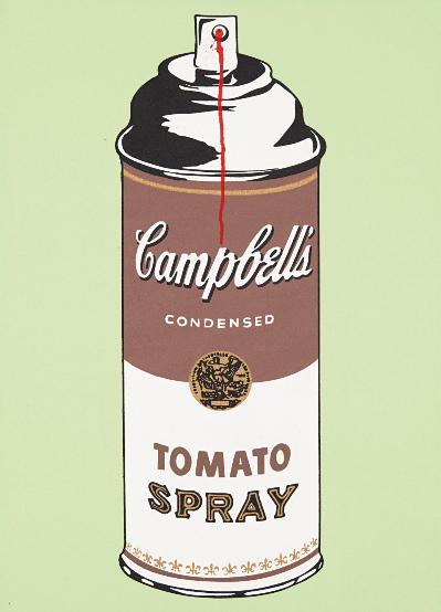 Mr. Brainwash-Tomato Spray on Canvas-2008