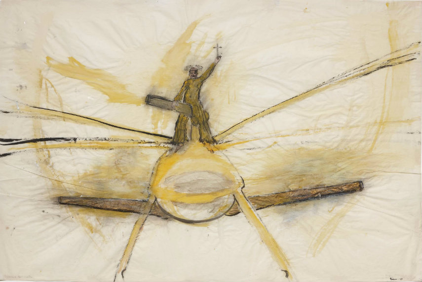 Nancy Spero - Clown and Helicopter, 1967, Image via museoreinasofiaes home galerie paper