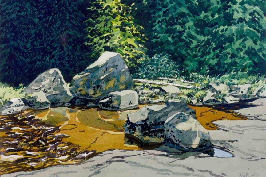 this acrylic landscape painting is painted just before the winter