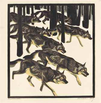 Norbertine von Bresslern-Roth-A Small Collection (comprised of Wolves, Panther and Antelope, The Song of the Night and Romance)-1920