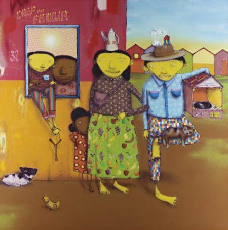Os Gemeos-Untitled (O Pai, O Mae, o filho, a empregada, a filha de empregada, o cachorro, o ouelhinha o gato e o passarinho)-2008