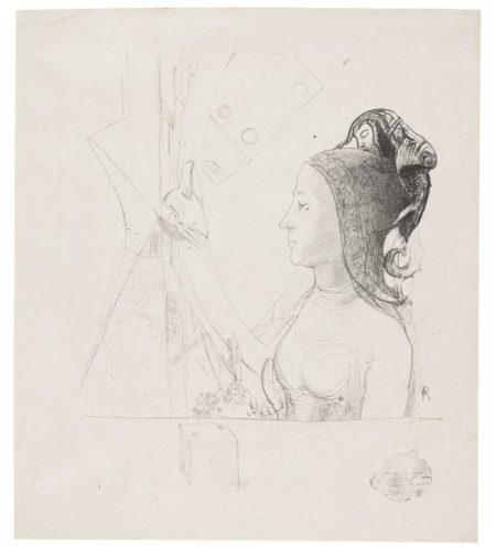 Odilon Redon-Femme De Profil Vers La Gauche, Coiffee D'Un Hennin-1898