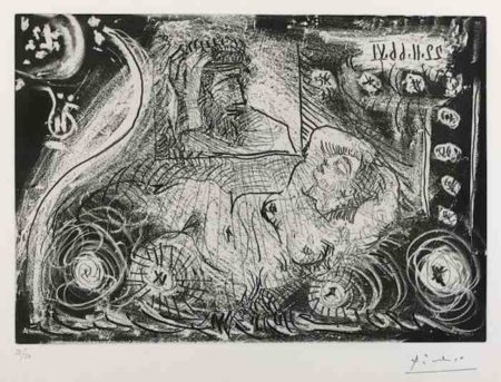 Pablo Picasso-Au theatre: David songeant a Bethsabee-1966