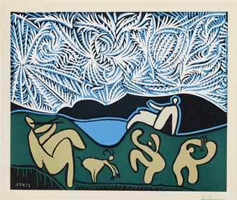 Pablo Picasso-Bacchanale avec Chevreau et Spectateur-1959