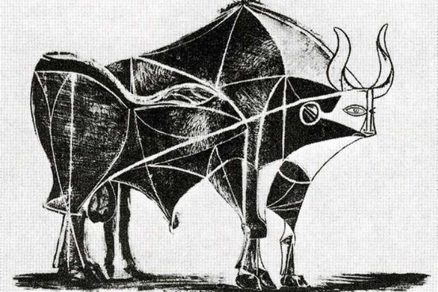 Pablo Picasso - Bull, plate V, 1945 via wikimedia
