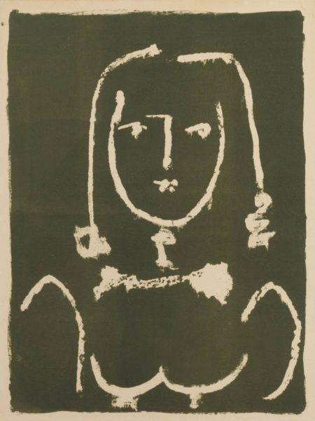 Pablo Picasso-Buste Blanc Sur Noir-1949