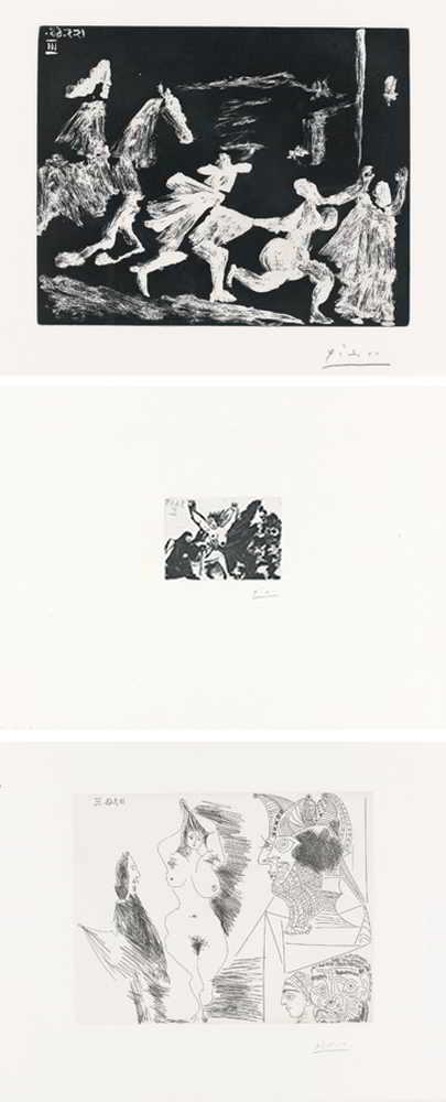 Pablo Picasso-Cape Et Epee: Poursuite I; Enlevement A Pied, Avec La Celestine ; And Jeune Femme Et Gentilhomme Sculpture Egyptienne Au Socle Peint-1968