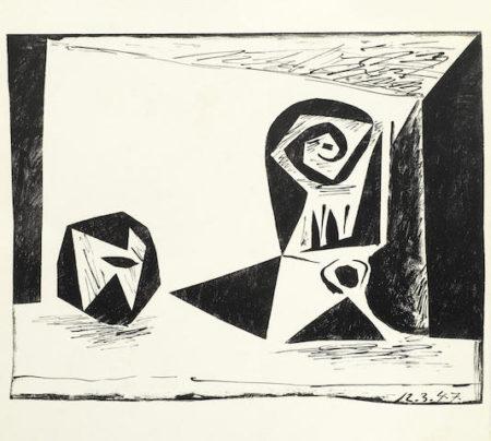 Pablo Picasso-Composition au verre a pied-1947
