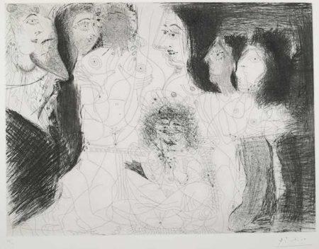 Pablo Picasso-Degas chez les Filles. Repos et Intimite pl. 79 from Series 156-1971
