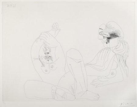 Pablo Picasso-Deux Femmes une en Raccourci et une Repliee sur elle-meme pl. 141 from Series 156-1971