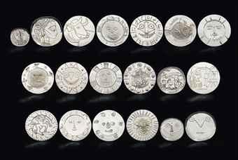 Pablo Picasso-Dix-neuf Plats en Argent, A Complete Set of Nineteen Silver Plates-1956