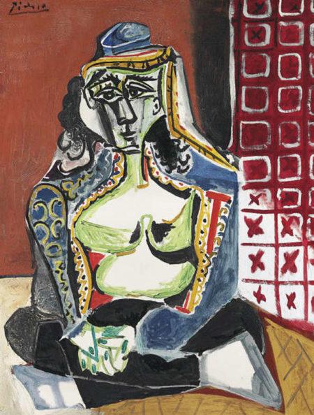 Pablo Picasso-Femme accroupie au costume turc (Jacqueline)-1955