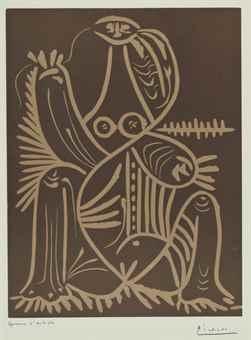 Pablo Picasso-Femme assise en pyjama de plage II-1962