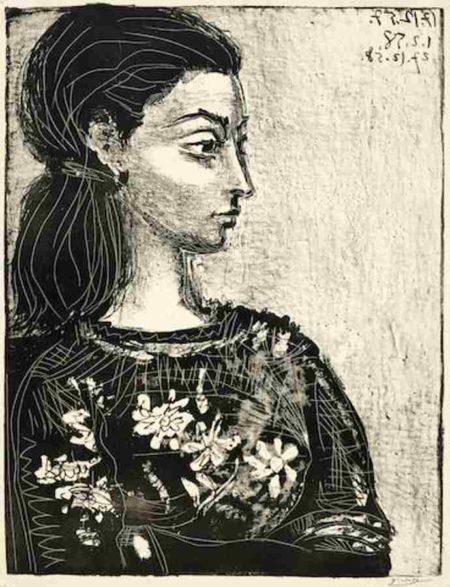 Pablo Picasso-Femme au Corsage a Fleurs-1958
