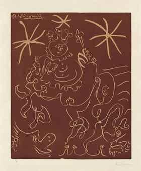 Pablo Picasso-Femme couchee et homme au grand chapeau-1959