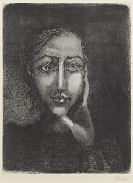 Pablo Picasso-Francoise Sur Fond Gris (B. 681; M. 195)-1950