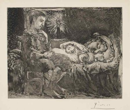 Pablo Picasso-Garcon et dormeuse a la chandelle (Boy and Sleeping Woman by Candle Light), plate 26 from La suite Vollard-1934