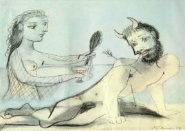 Pablo Picasso - Girl Helping Minotaur. Image via art.ayay.co.uk