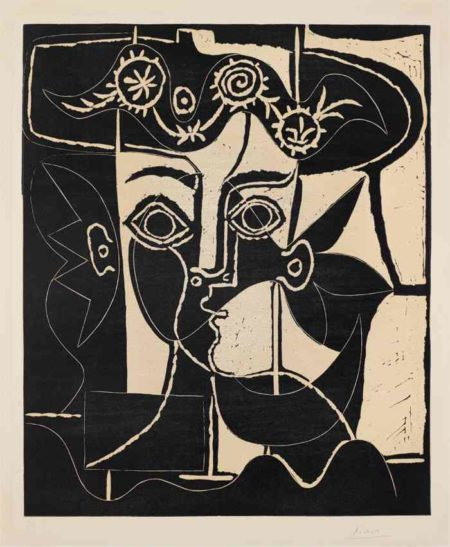 Pablo Picasso-Grande tete de femme au chapeau orne (Large Head of a Woman with Decorated Hat)-1962