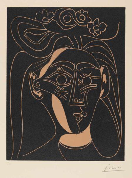 Pablo Picasso-Jacqueline Au Chapeau A Fleurs. I-1962