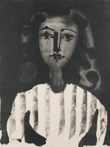 Pablo Picasso-Jeune Fille Au Corsage Raye-1949