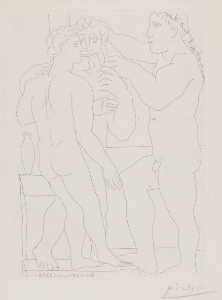 Pablo Picasso-Jeune Sculpteur Grec Avec Sa Sculpture: Un Homme Et Un Ephebe-1933