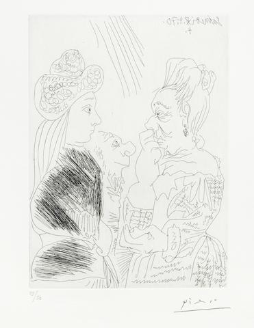 Pablo Picasso-La Bonne aventure avec un curieux simiesque pl. 26 from Series 156-1970