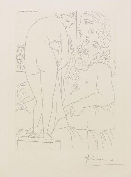 Pablo Picasso-Le Repos Du Sculpteur Devant Un Nu A La Draperie-1933