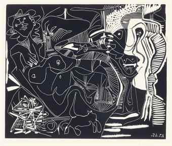 Pablo Picasso-Le The: Deux Femmes Nues et une Chat-1965