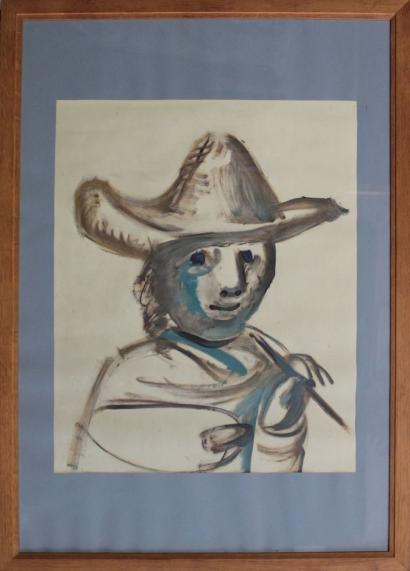 Pablo Picasso-Man with Hat and Brush-