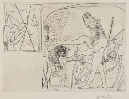 Pablo Picasso-Minotaure Aveugle Guide Par Une Petite Fille Aux Fleurs-1934