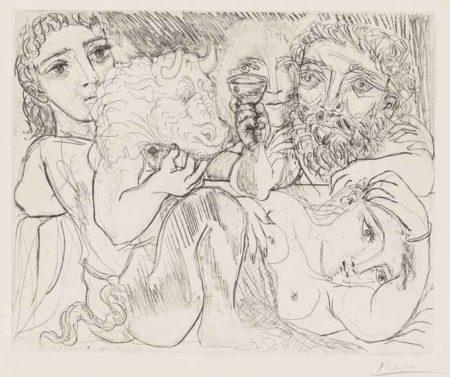 Pablo Picasso-Minotaure, Buveur Et Femmes-1933