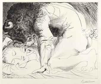Pablo Picasso-Minotaure caressant une femme, from La Suite Vollard-1933